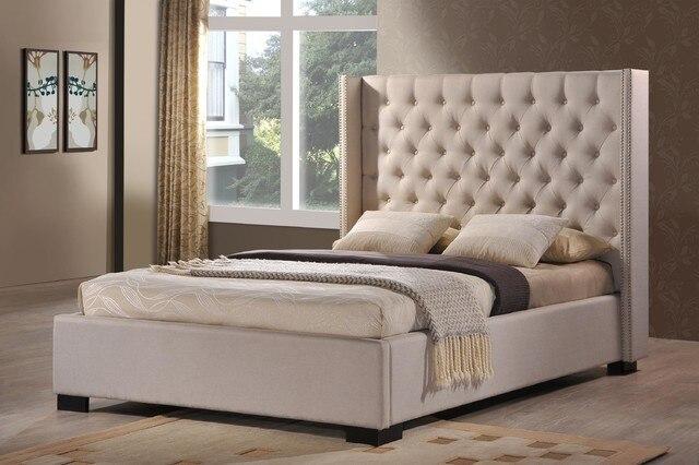 Fb1522 cama tapizada muebles de dormitorio con copetudo cabecero en ...