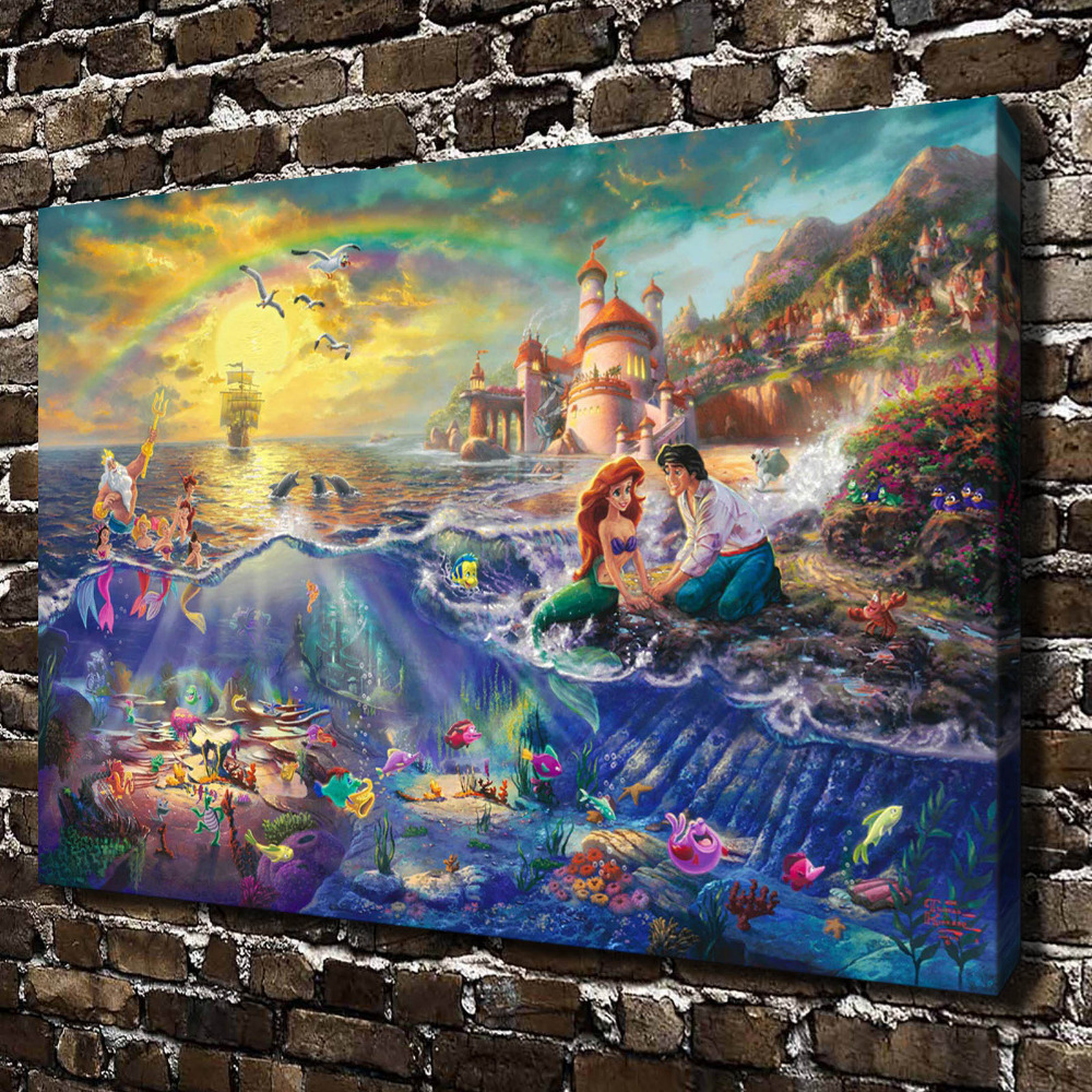 aliexpresscom buy h1216 thomas kinkade the little mermaid hd canvas print home decoration living room bedroom wall pictures art painting from reliable - Mermaid Home Decor