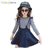 Autumn Kids Girls Clothes Children Clothing Long Sleeve Striped Blouse T Shirt Denim Skirt 2PCS Suit