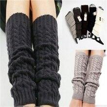 Зимние гетры для женщин, модные гетры-манжеты на ботинки, Женский Теплый длиной до бедра, черные Рождественские подарки, вязанные гольфы