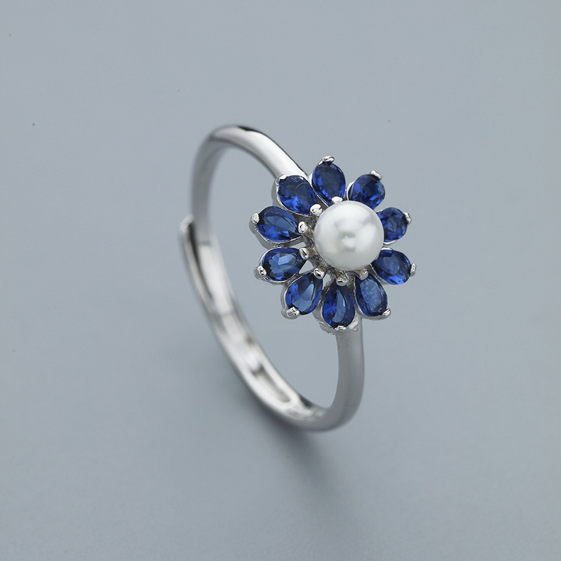 L&P Fashion Blue CZ& Pearl 925 Sterling Silver Ring For Women Jewelry Adjustable Ring Wholesale Gift Hot Sale