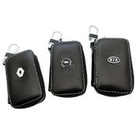Genuine Leather Keychain Key Holder Pouch Cow Split Car Key Bag Wallet Housekeeper Key Case Card Bag For BMW Nissan Toyota KIA