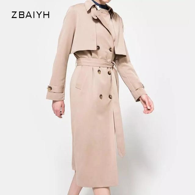 Плащ для женщин casaco feminino мода элегантный Двубортный Хаки макси пальто Регулируемый Талия женские пальто на весну