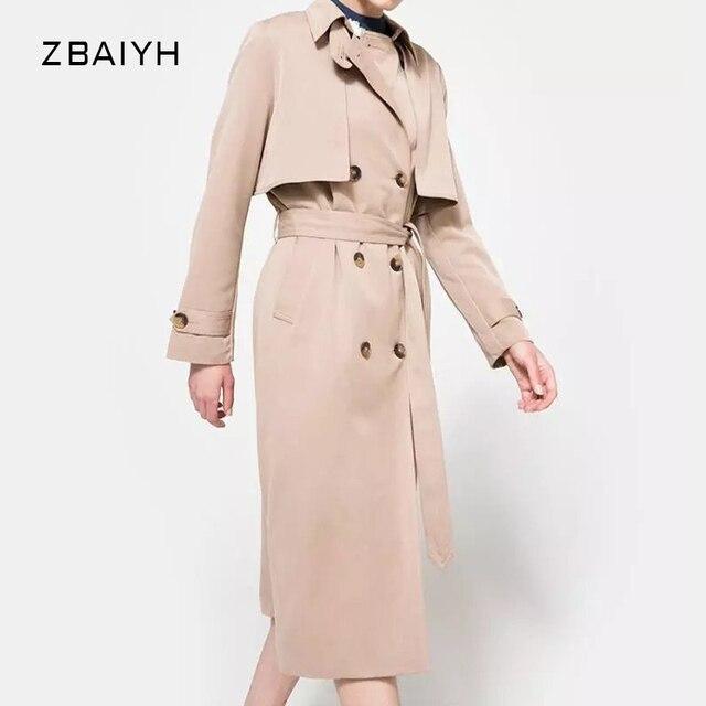 Trench Coat for women casaco feminino fashion elegant Double Breasted Khaki maxi coat Adjustable Waist Women's coats for spring
