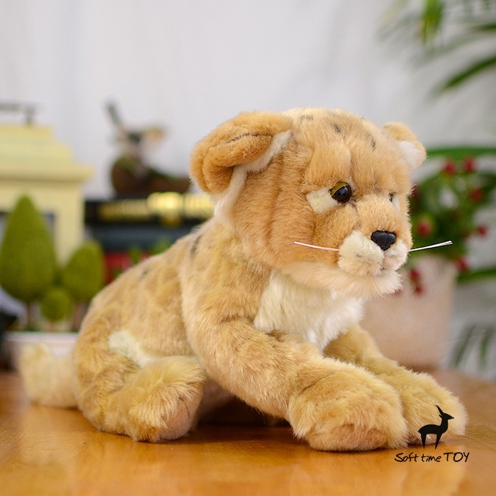 Simulation Stuffed Animal Toy Cougar  Doll Cute  Mountain Lion  Plush Toys For Children Gift animal simulation toy guinea pig plush doll stuffed animals knuffels small toys pluche mini dieren gift for baby girl 70g0340