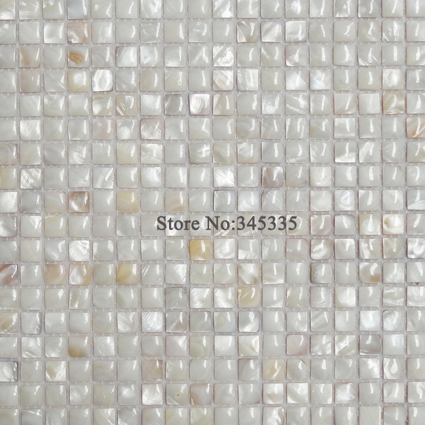 white 3D river shell mosaic tile mother of pearl wallpaper kitchen