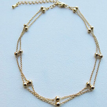 Trendy Foot Jewelry chaine cheville enkelbandje halhal Double Chain Link Beads Anklets For Women barefoot Anklet Bracelets