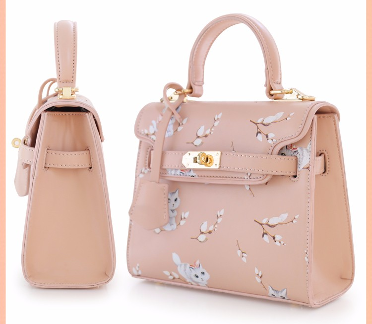 x13 New Sale Bolsas Mujer Small Peekaboo Saddle Faux Leather PU Pink Cat Floral Women\'s Handbags For Lady  Messenger Bags Totes
