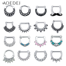 AOEDEJ 16G Stainless Steel Septum Clicker Nose Septum Helix Piercings Nariz Septum Round Shape Mustache Nose Clicker Piercings(China)