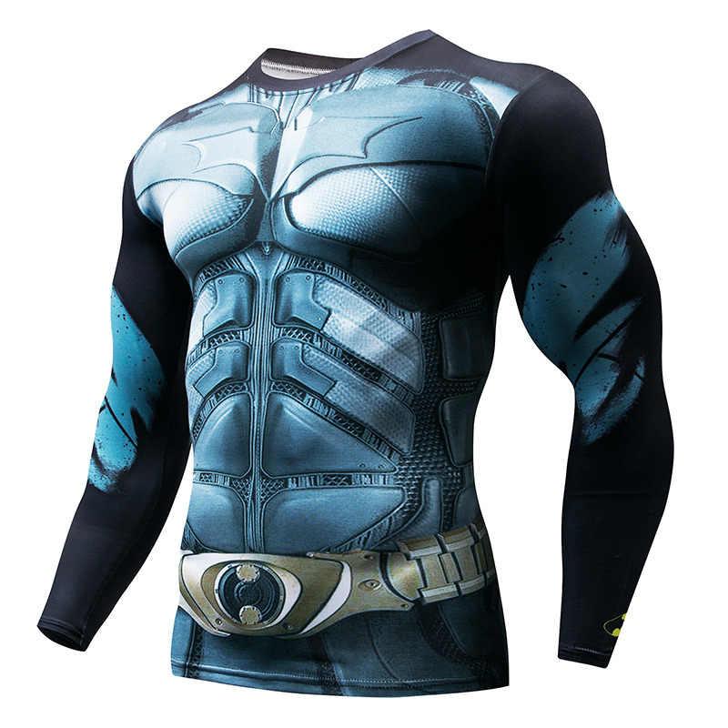 ยาวเสื้อกีฬาผู้ชาย Superhero Punisher 3D การบีบอัด T เสื้อด่วนแห้งเสื้อยืดชายออกกำลังกายฟิตเนส Top rashgard