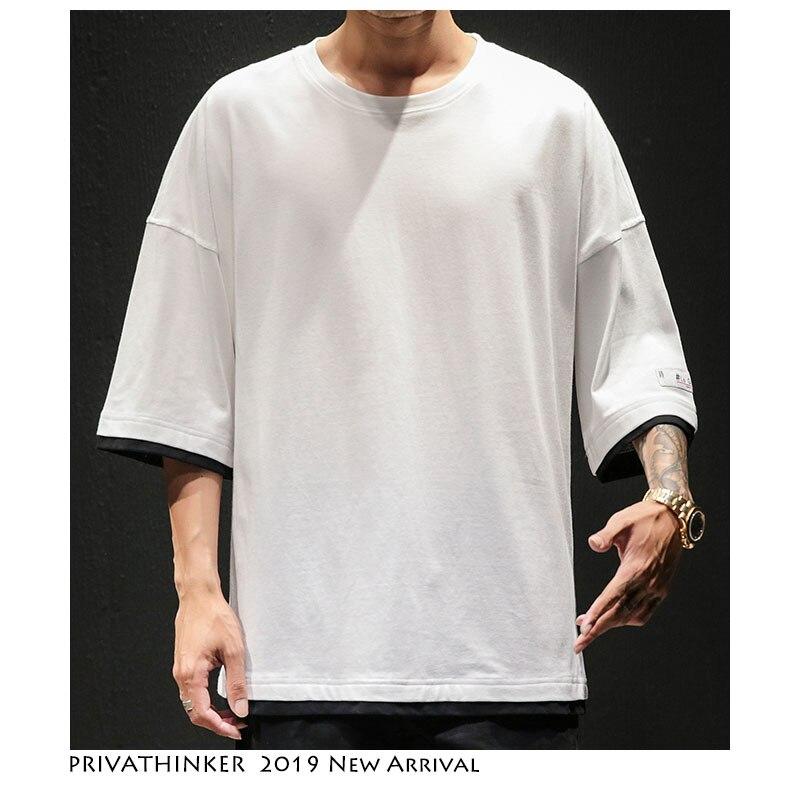 Image 2 - Privathinker Мужские футболки в японском стиле из двух частей, уличная одежда 2019, Мужская футболка в стиле хип хоп с круглым вырезом, повседневная мужская однотонная летняя футболка-in Футболки from Мужская одежда