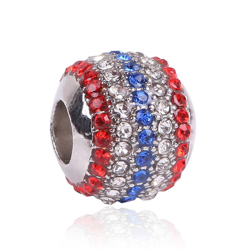 Ranqin New Arrival Silver Color Bead Fit Pandora Charms Bracelets Jewelry Making ,With Rhinestone