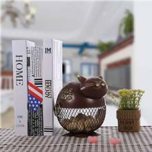 Tooarts Lovely Fat Puffy Cat Wine Cork Container Ornament Storage Jar Box Organizer Home Decor Metal Sculpture Animal Craft Gift(China)