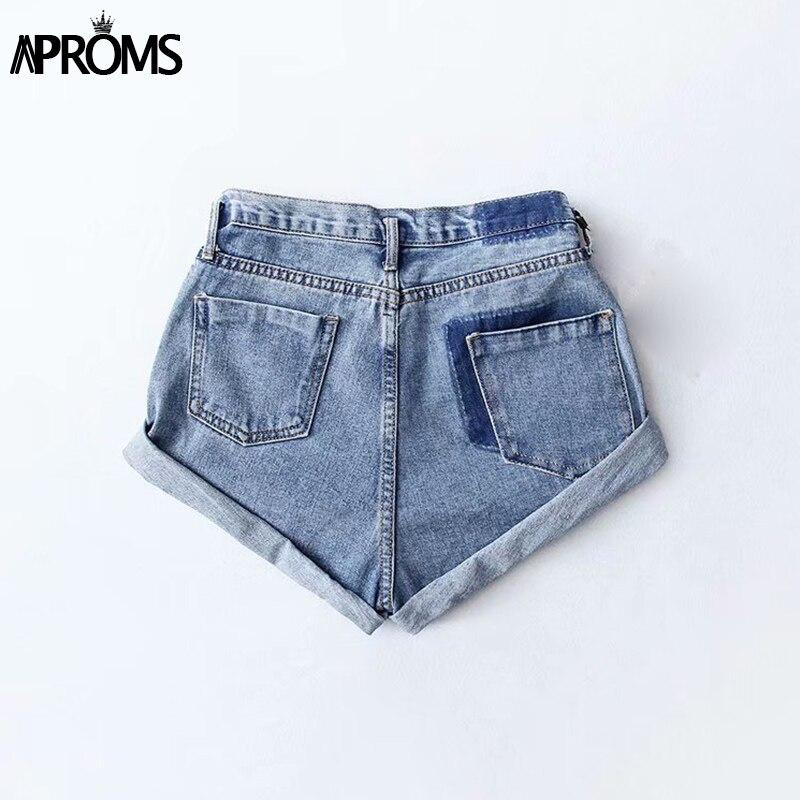 Aproms Casual Blue Denim Shorts Women Sexy High Waist Buttons Pockets Slim Fit Shorts 2019 Summer Beach Streetwear Jeans Shorts 45