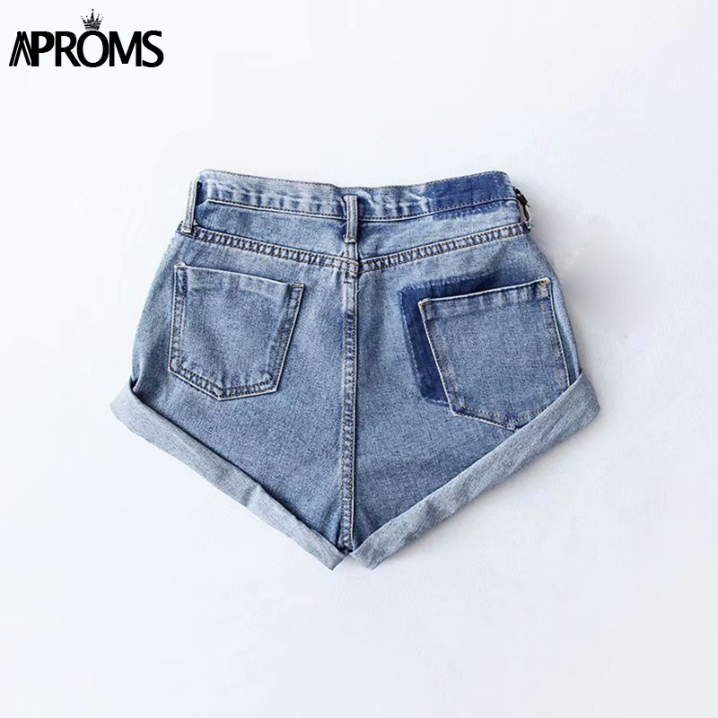 HTB1h qja2vsK1Rjy0Fiq6zwtXXam - Aproms Casual Blue Denim Shorts Women Sexy High Waist Buttons Pockets Slim Fit Shorts Summer Beach Streetwear Jeans Shorts