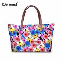 Coloranimal Trendy 3D Palm Print Flower Red Listick Women Large Capacity Handbag For Ladies Travel Shopping