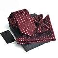 Hihg Quality Three-piece Necktie Set Gravata Corbatas Jacquard Woven Ties Handkerchief Bowtie Casamento Gravata Slim Wholesale