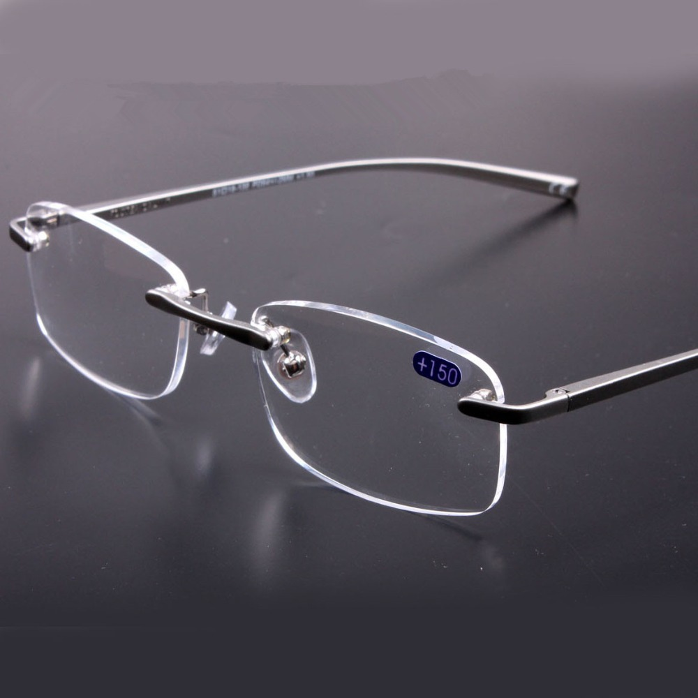 Aluminum Magnesium Quality Rimless Reading Glasses Men Frames Women Eyeglasses For Reading Gray Frame Transparent Lenses