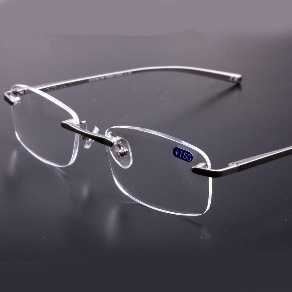 Aluminum Magnesium Quality Rimless Reading Glasses Men Frames Women  Eyeglasses for Reading Gray Frame Transparent Lenses 37bcea574f
