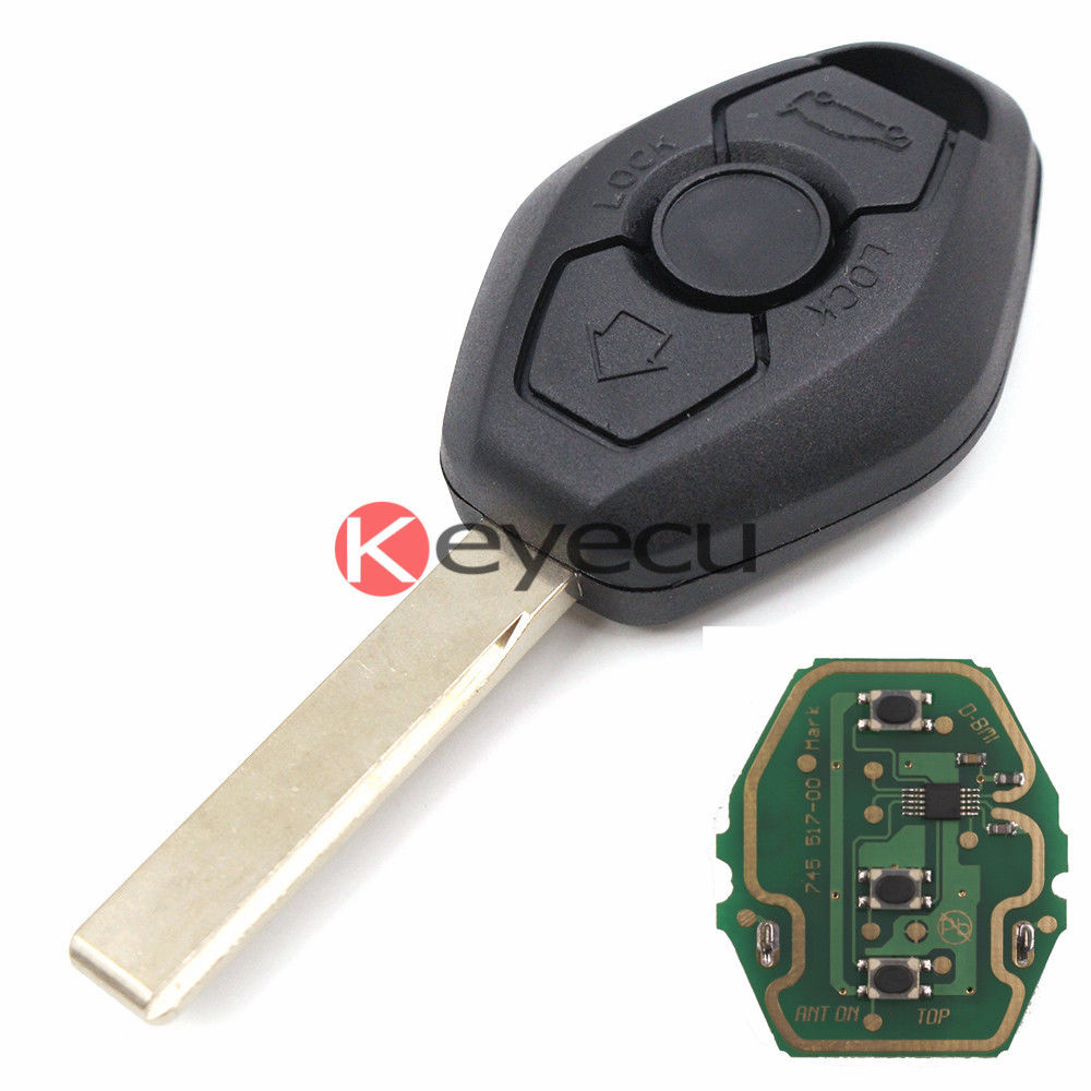 Prix pour EWS Distance Key Fob 3 Bouton pour BMW Réglable Fréquence 315/433 MHz Avec ID44 Puce Uncut Lame HU92