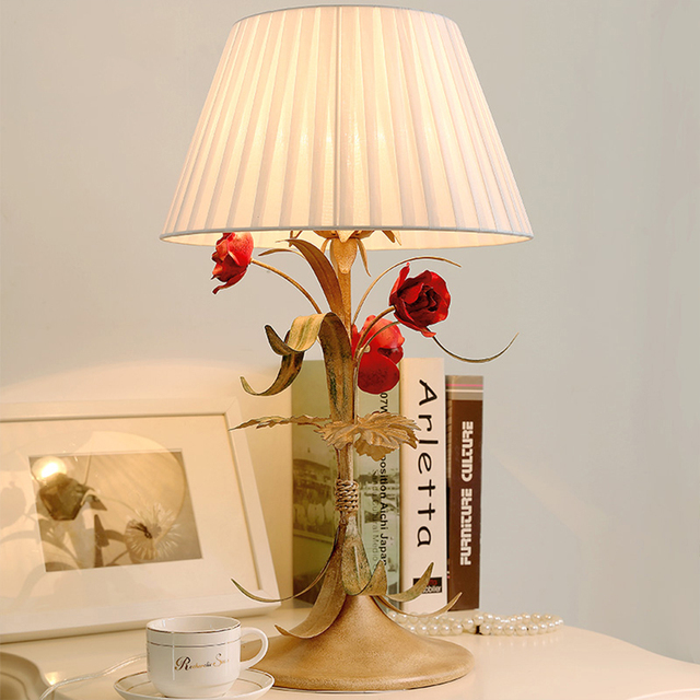 Country style table lamp creative wedding bedroom bedside lamp warm country style table lamp creative wedding bedroom bedside lamp warm decor retro table lamps wrought aloadofball Images