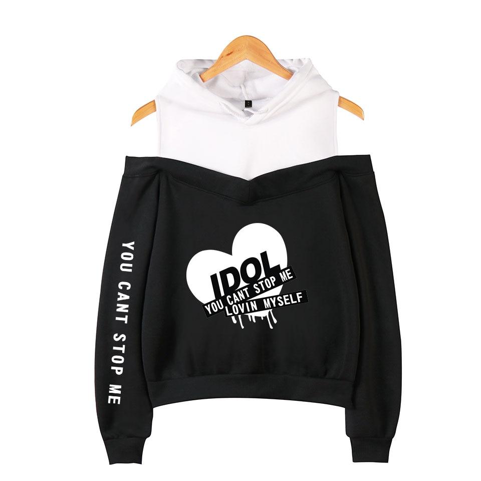 New Fashion Kpop Bangtan Hoodie Sweatshirt IDOL You Can't Stop Me Love Myself Women's Bangtan Boys Hooded Off-shoulder Hoodies