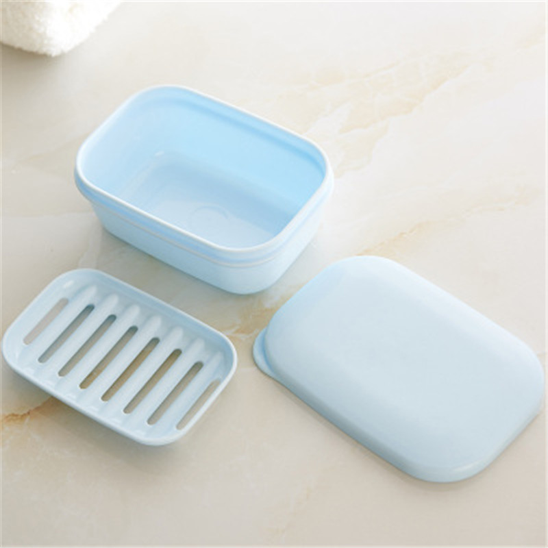 Double Layers Handmade Soap Box Travel Portable Lid Soap Box With Drain Layer Draining Holder Soap Dish Bathroom