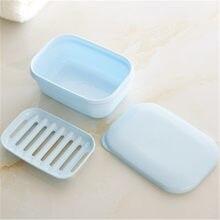 Saboneteira portátil de duas camadas, saboneteira artesanal com dreno, tampa para viagem, porta sabonete, banheiro