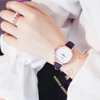 Fashion casual women   dress     watches   roma diamond scale ulzzang luxury brand female quartz clock simple leather lady wristwatches