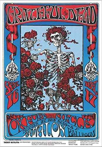 Grateful Dead Skeleton \u0026 Roses Family Dog Oxford Circus Avalon Wall Sticker  Home Decoration Silk Art Poster
