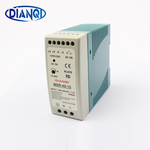 High quality din rail power supply switch MDR-40-12  40W 12V output DIANQI Switching