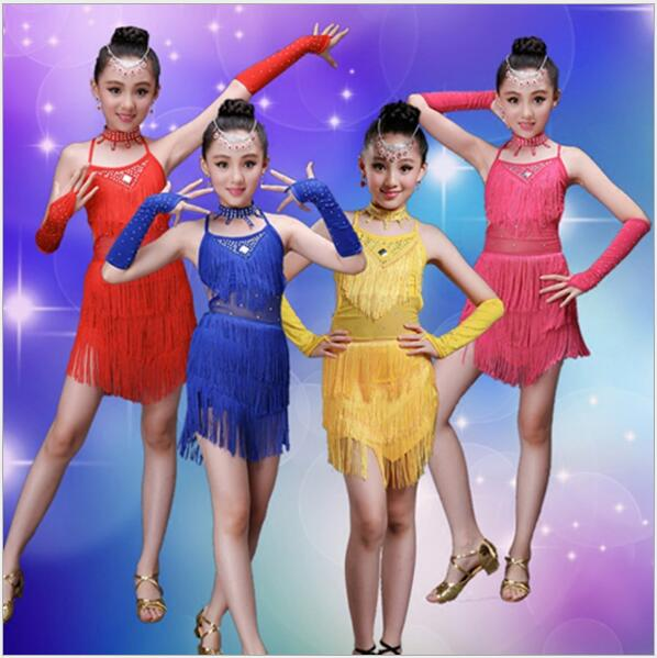 New 2017 Latin Dance Kids Competition Costumes Bachata Junior Red Ballroom Tango Latin D ...