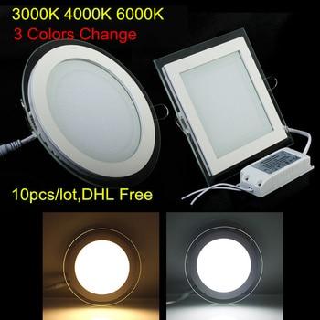 3000K 4000K 6000K 3 Colors Change 6W 9W 12W 18W Glass LED Downlight AC85-265V Recessed LED Ceiling Panel light 10pcs DHL Free