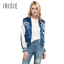 IRISIE Apparel Blue Floral Embroidery Zipper Women Jacket Coat Casual Slim Female Bomber Jacket Spring Preppy Chic Basic Jacket
