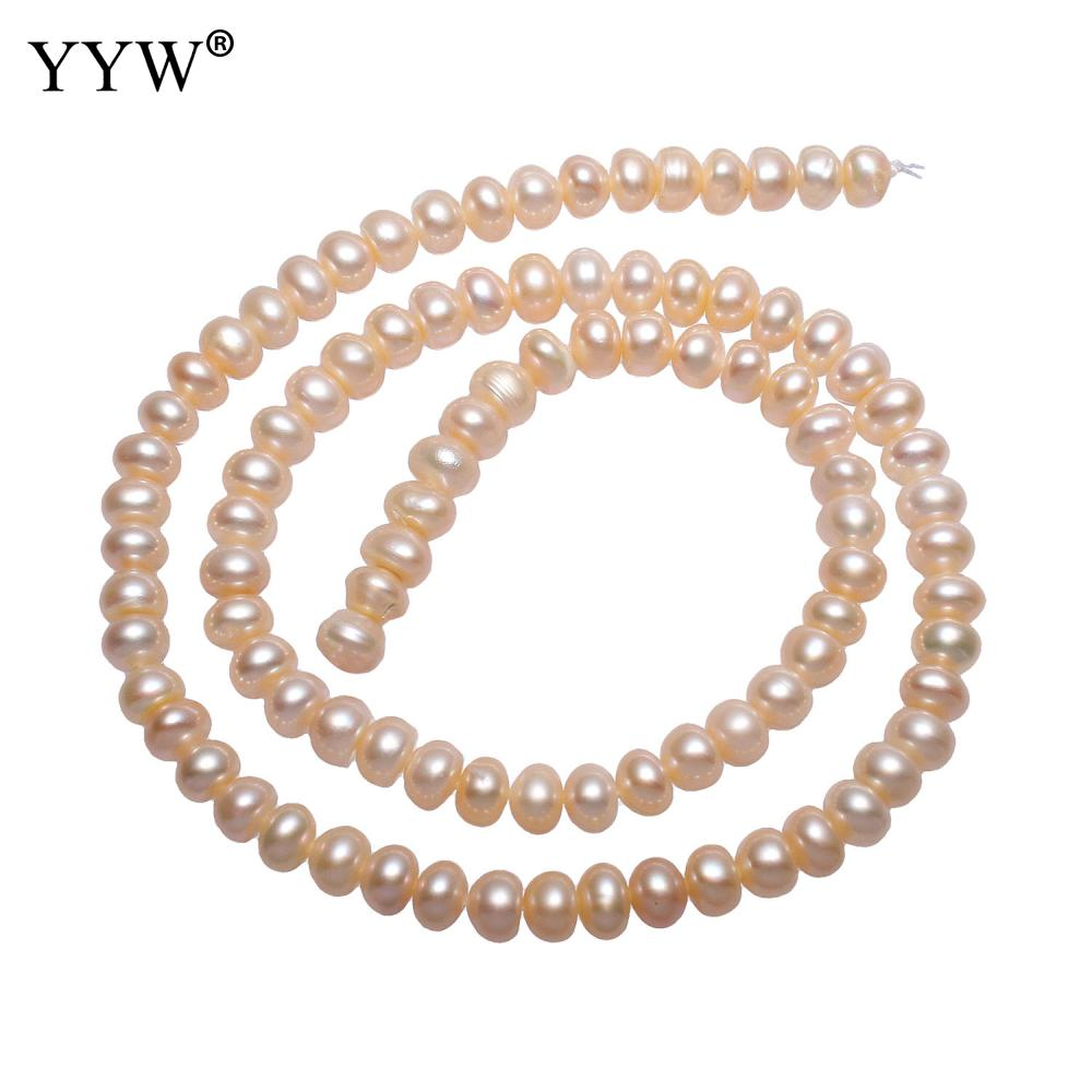 YYW High Quality Cultured Potato Freshwater Pearl Beads natural pink 5-6mm Approx 0.8mm Sold Per Approx 15 Inch Strand