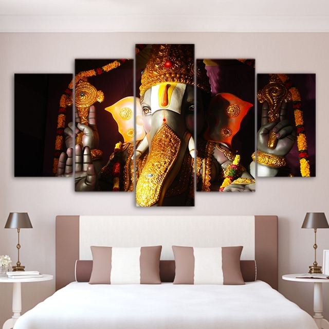 wall decorations for living room india decorating with brown leather furniture art pictures home decor ganesha poster frame 5 piece elephant ganesh religion lord balaji canvas painting