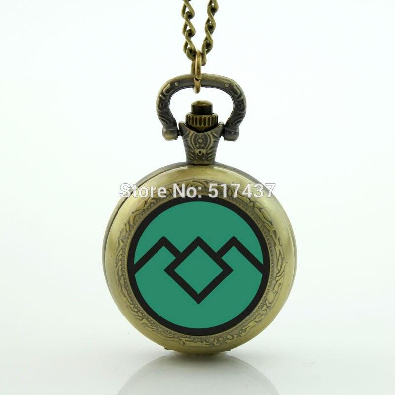 WholesaleGreen Twin Peaks Pocket Watch Necklace Mini Glass Locket Necklace Antique Pocket Watch Necklace