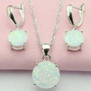 Fantastic White Australia Opal Silver Plated Jewelry Sets Bijouterie Drop Earrings Pendant/Necklace For Women Free Gift Box