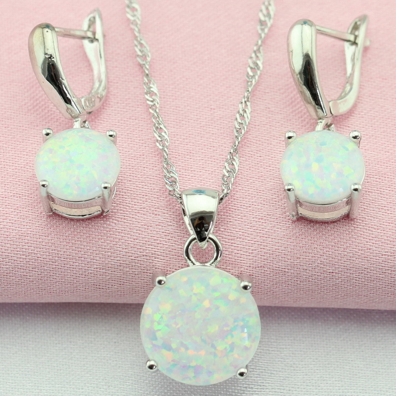 Fantastic White Australia Opal Silver Color Jewelry Sets Bijouterie Drop Earrings Pendant/Necklace For Women Free Gift Box