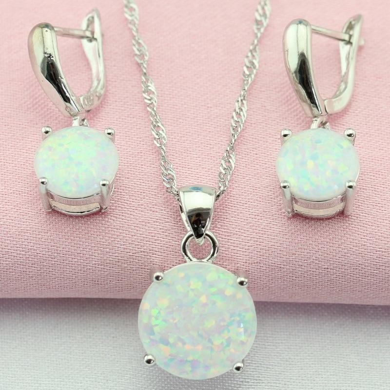 Фантастични бели Аустралија опал сребрни сет накита Бижутерија капуљаче минђуше / огрлица за жене Бесплатна поклон кутија