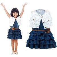 Heißer Verkauf Kinder Mädchen Sommer Modelle Mädchen Weste Jeans Kleid + Jacke 2 stück Anzüge