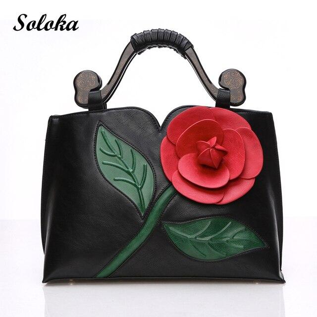 Big Rose Flower Women Leather Handbags Luxury Tote Bag Brand Female  Crossbody Women Messenger Bag Vintage 0e67633d8f828