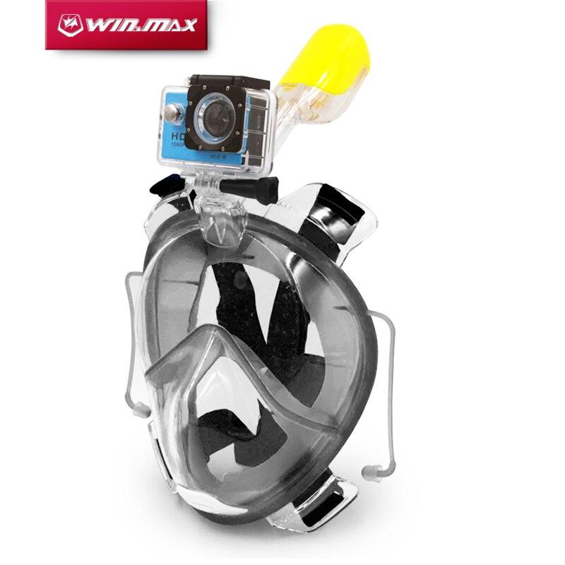 Winmax Apnée Sous-Marine Plongée Anti Brouillard Plein Visage Masque de Plongée En Apnée Ensemble avec Boules Quies et de Support de Caméra pour Gopro