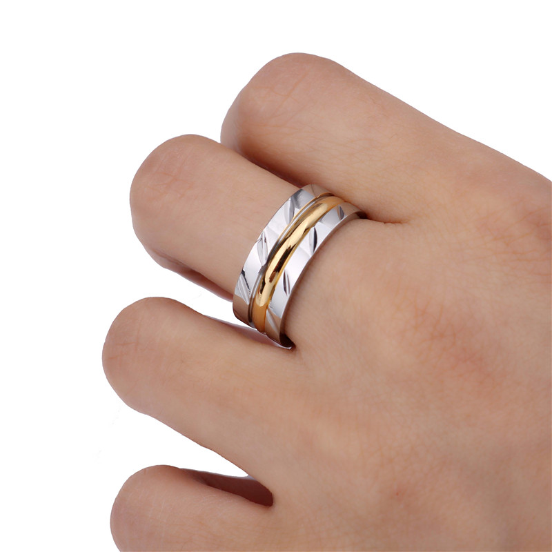 8MM Never Fade 14KGP 316l Stainless Steel Ring Titanium Steel Engagement titanyum ring