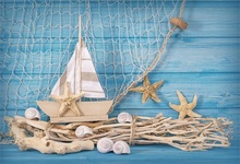 Laeacco Ship Blue Wooden Board Shell Starfish Fishnet Baby Birthday Photo Backgrounds Photography Backdrops For Studio