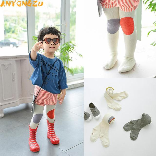 d8da78c57 2pcs Cotton Knitting Baby Tights Girls Boys Cartoon Tights Toddler  Stockings Pantyhose Children Clothes Color matching