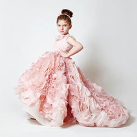 Girls Pink Floor Length Wedding Dress Girl Princess Dress Girl Party Dress New First Communion Ball Gown Birthday Clothes
