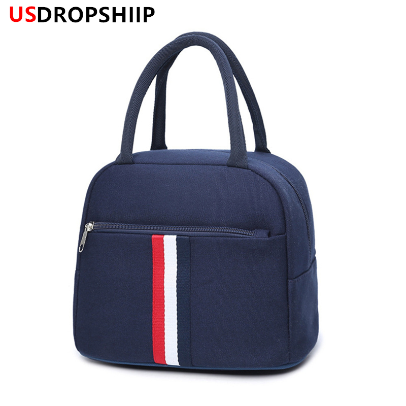 USDROPSHIP Women Portable Lunch bag Portable Insulated Picnic Box Oxford Solid Thermal Lunch box Food Picnic Bag Cooler Bag