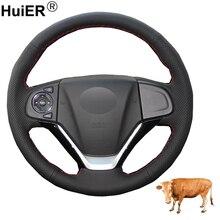Couvre volant de voiture en cuir de vache, couture à la main, couche supérieure, pour Honda CRV 2012 2013 2014 2015 2016