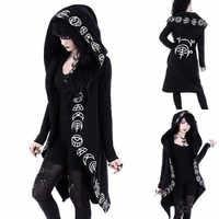 Gothic Punk Jacke Brief Druck Frauen Schwarz Mit Kapuze Plus größe Winter 2019 Mantel Weibliche Lange Frauen Jacken Und Mäntel Kleidung